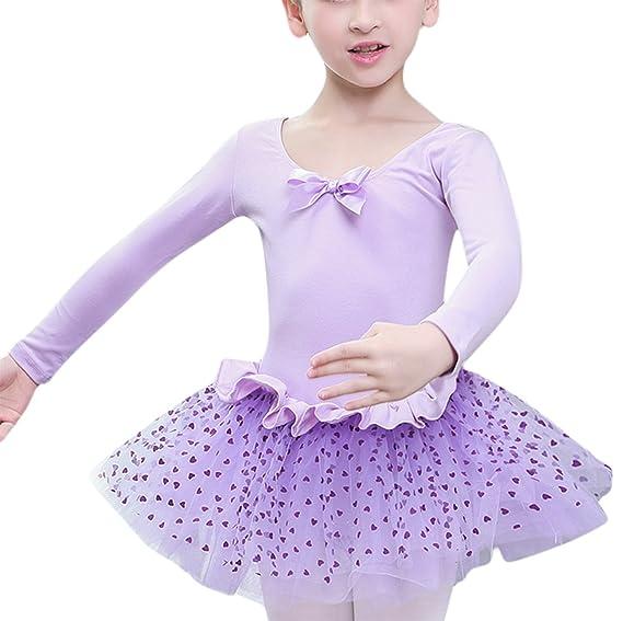 Feoya - Niñas Vestido de Baile Maillot Ropa para Ballet de Algodón Una Pieza con Tutú