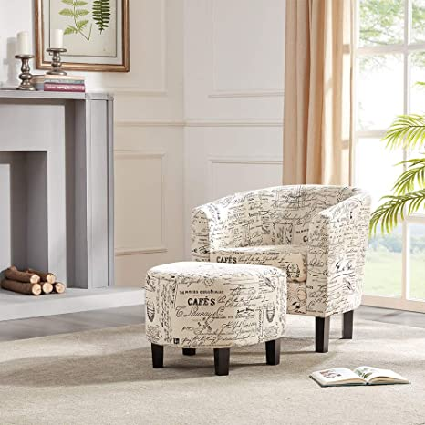 Incredible Belleze Accent Tub Chair Curved Back French Print Script Linen Fabric W Ottoman Modern Stylish Round Armrest Beige Gmtry Best Dining Table And Chair Ideas Images Gmtryco