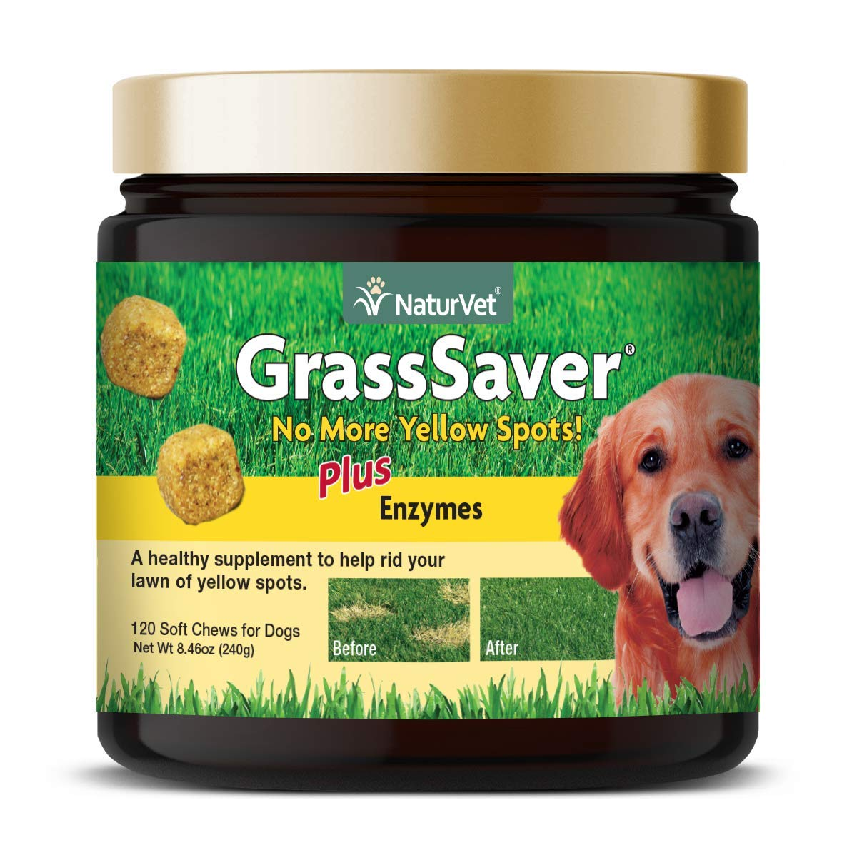 NaturVet - GrassSaver Supplement for Dogs - Healthy Supplement to Help Rid Your Lawn of Yellow Spots - Synergistic Combination of B-Complex Vitamins & Amino Acids - 120 Soft Chews by NaturVet