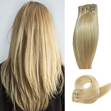 Amazon Com 24 Human Hair Extensions 16inch Clip In Extensions
