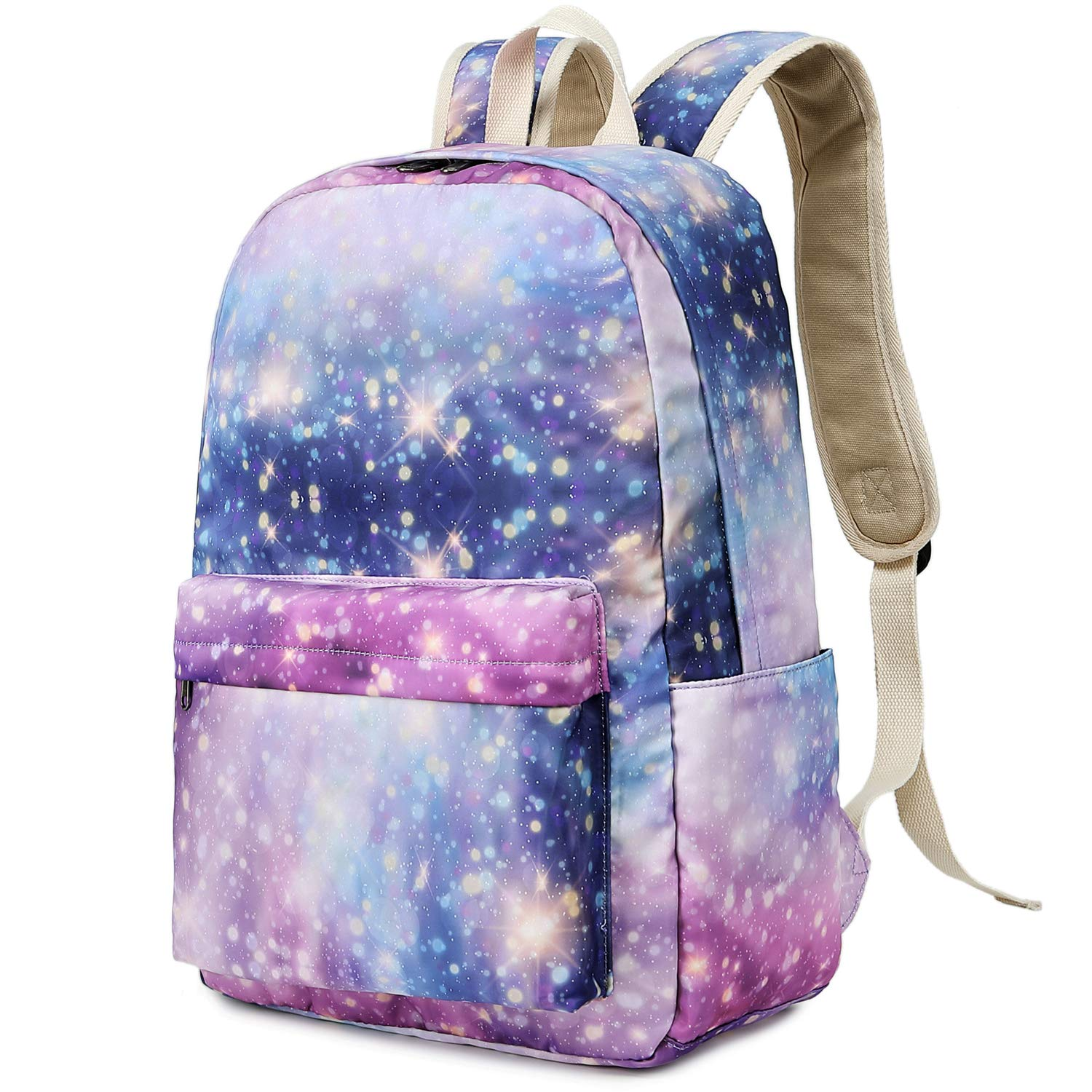 0a3f85bd18e1 Teens Backpack for School Girls Bookbag Middle School Student Schoolbag  Causal Travel Daypack (Star-Pink Purple)