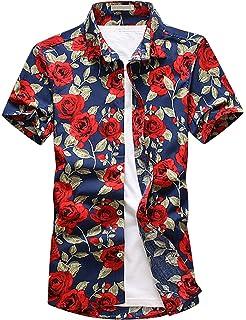 MOGU Hombre Casual Hawaiano Funky Flores Vacaciones Playa Manga Corta Camisas