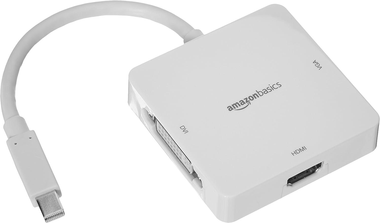 AmazonBasics Mini DisplayPort to HDMI/DVI/VGA Adapter - White, 5-Pack