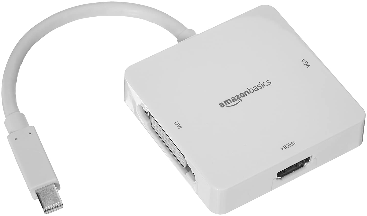 AmazonBasics Mini DisplayPort to HDMI/DVI/VGA Adapter - White