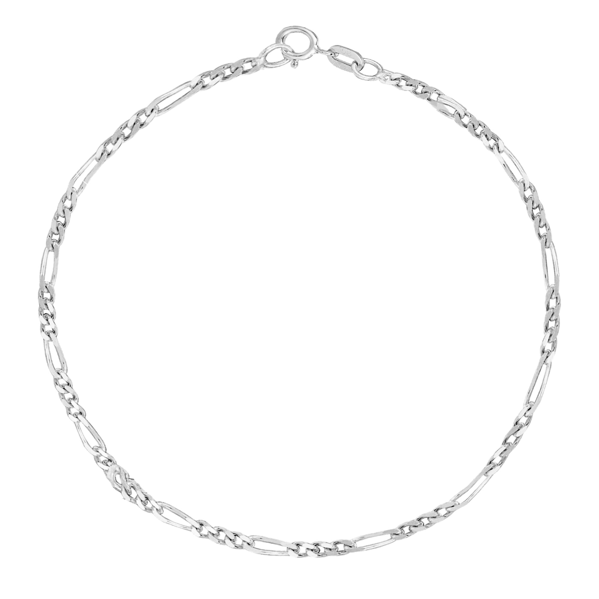 14k White Gold Figaro Link Chain Anklet Ankle Bracelet 1.3 Mm 10 Inches