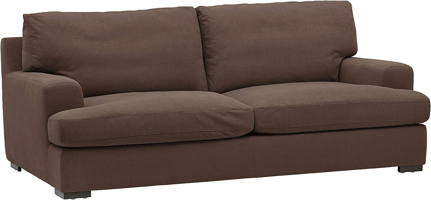 "Amazon Brand – Stone & Beam Lauren Down-Filled Oversized Sofa Couch with Hardwood Frame, 89""W, Chocolate"