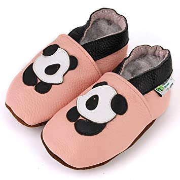 73e4c2137a03f3 Image Unavailable. Image not available for. Color  Panda Soft Sole Leather  Baby Shoes ...