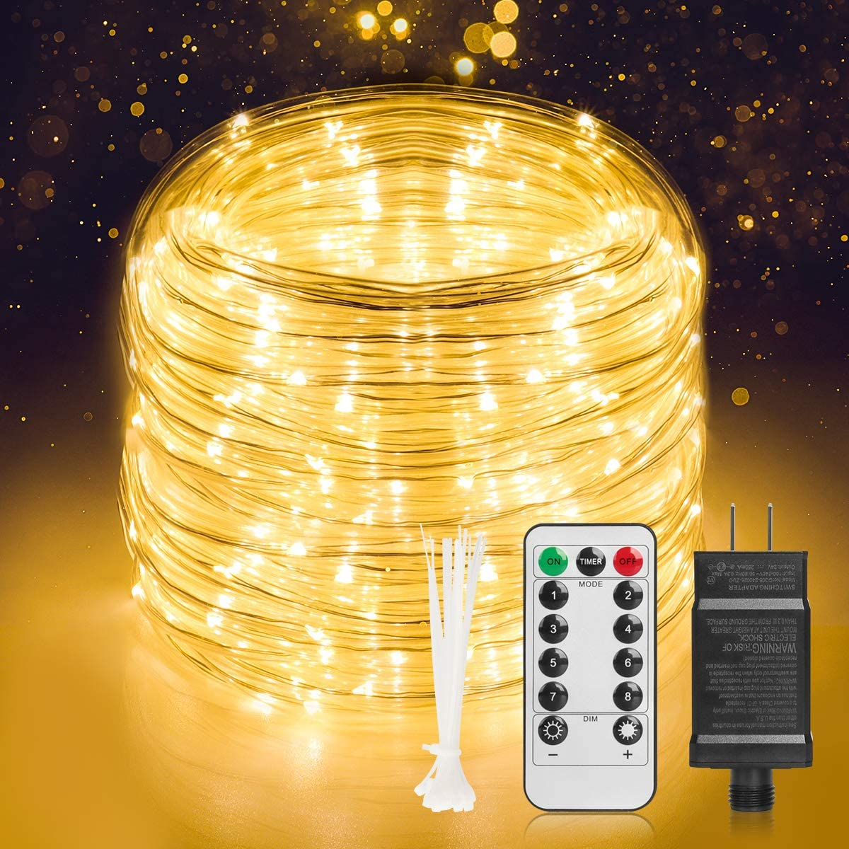 Led Rope Lights, 65.5 Ft Outdoor String Light 336 Led Color Changing Light 8 Modes Outdoor Waterproof Fairy Tale Light with Timing Dimming Remote Control for Party, Garden, Christmas Décor