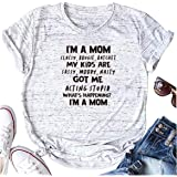 HONROY Women's Soft Cotton I'm A Mom Classy Bougie Ratchet Letter Pattern Short Sleeve Round Neck Summer Top T Shirt Tee
