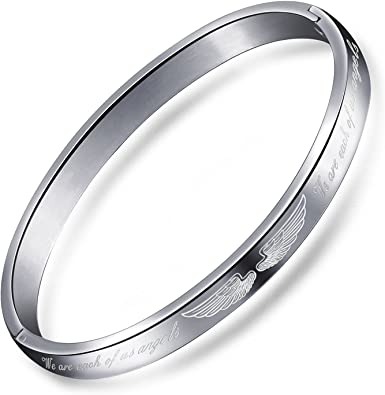 Stainless Steel Angel Wing Charm Bangle