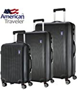 American Traveler Lightweight Anti-scratch 3 Pcs Luggage Set Durable ABS