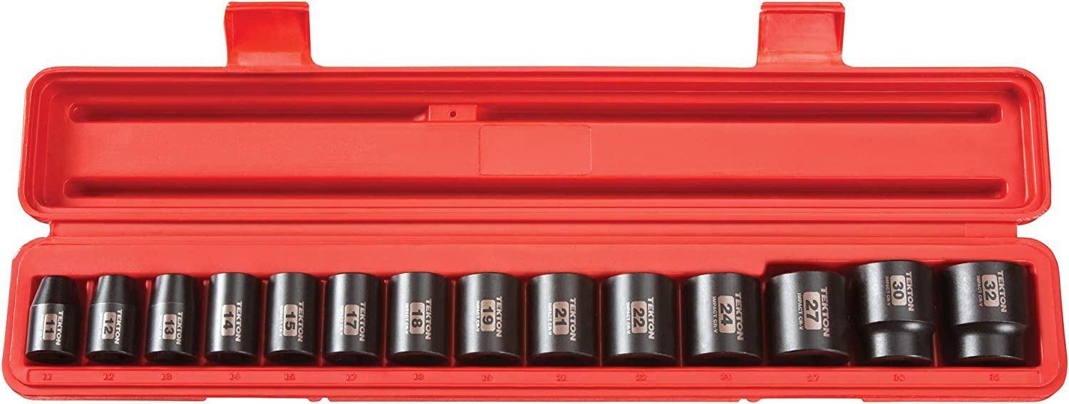 TEKTON 1/2 Inch Drive Deep 6-Point Impact Socket Set