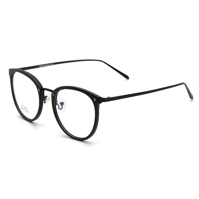 76f233a2de4c2 Simvey Vintage Inspired Eyeglasses Frame Oversized Round Circle Clear Lens Glasses  Black