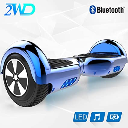 2WD 6.5 Hoverboard Scooter eléctrico Las Ruedas LED Luces Self Balance Scooter con Bluetooth, Scooter eléctrico 6.5
