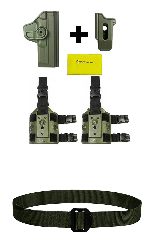 IMI Defense zsp07 Magポーチ+ z1120 360 °回転ホルスターS & W S & W M & P MPフルサイズ/コンパクト、odグリーン+ 2つのセットz2200ドロップ脚アタッチメントリグ+ Ultimate Arms GearセキュリティBDU Dutyベルト B0759N5L83