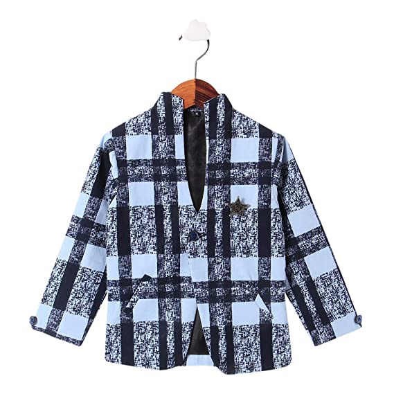 aa814aa0dff5 GENTLE BRAT Boys Cotton & Crush Check Print Full Sleeves Blazer in Blue  Color for Age
