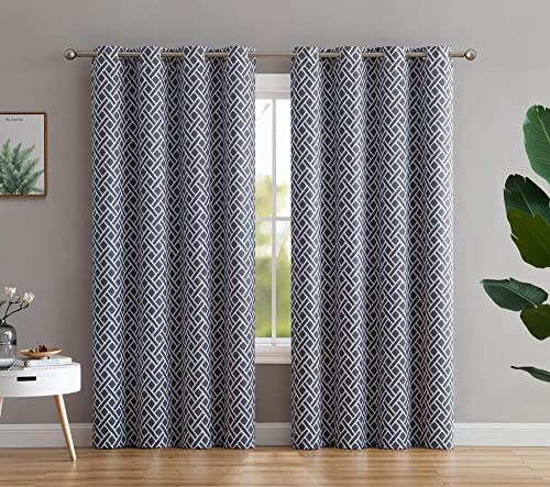 HLC.ME Basketweave Print Blackout Grommet Curtain Panels for Window – 99 Light Blocking – Thermal Insulated Decorative Hanging Pair for Privacy Room Darkening – Set of 2 52 W x 96 L, Grey