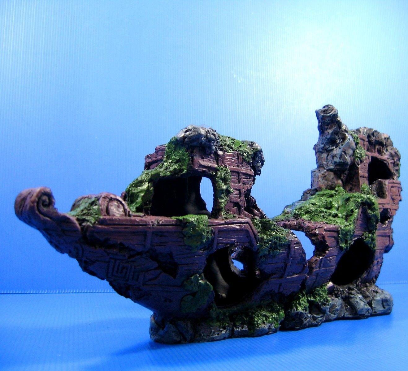 Sunken Ship-wreck 16.9''x3.9''x7.6'' Aquarium Ornament Decor boat Ancient ship cave