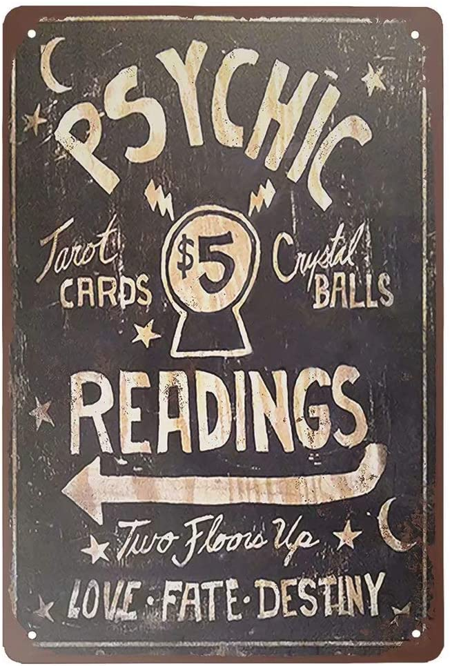 Stevenca Metal Tin Sign Psychic Readings $5 Tarot Cards Crystal Balls Vintage 8x12 Inch Wall Decor…