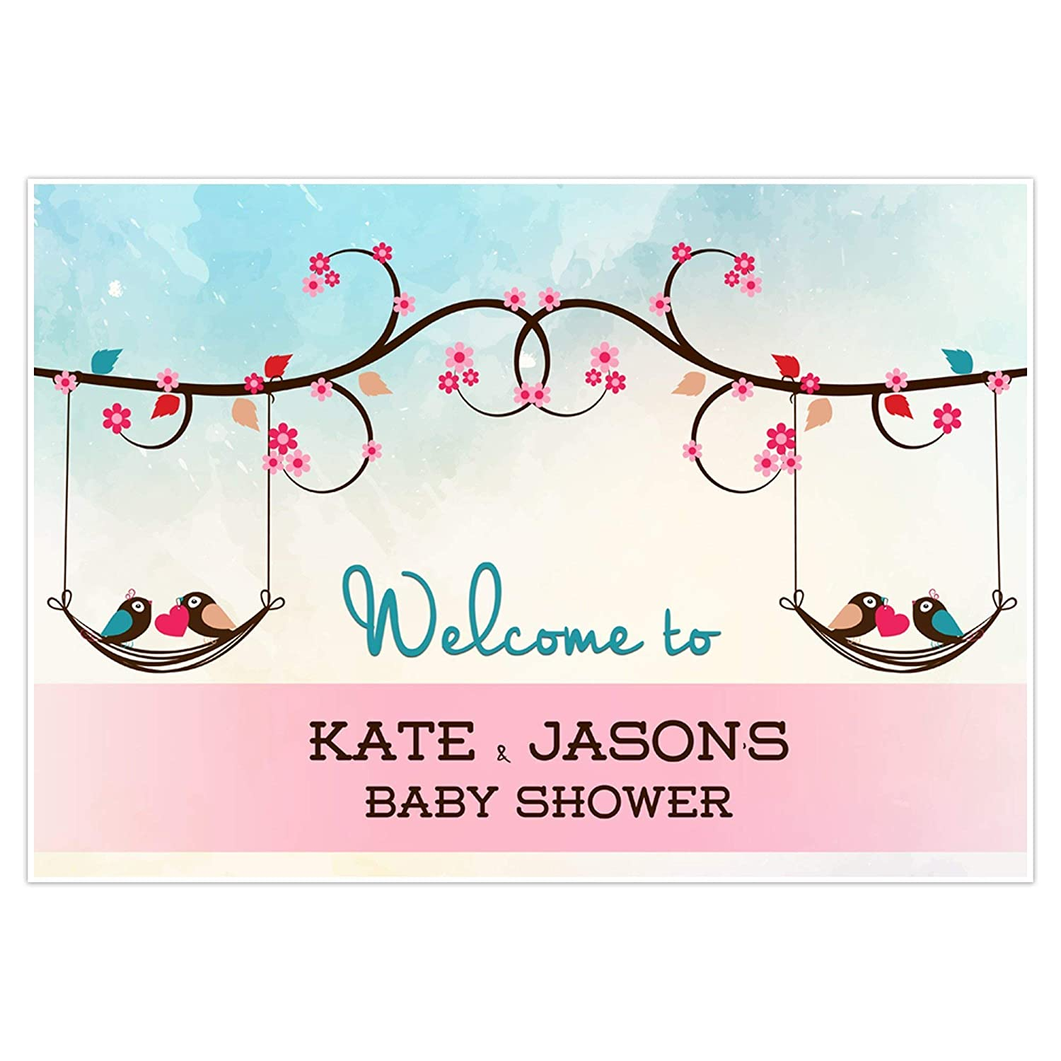 Love Birds Welcome Sign For Baby Shower Personalized Poster