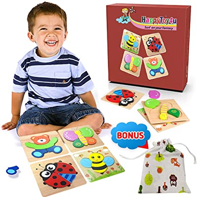 HappyToy4u Animal Jigsaw Wooden Puzzles for Toddlers 4 Pack Learning Toys for 1, 2, 3 Year Old Kids, Boys, Girls, Baby Infants, Educational Game for 2 Year Old Boy - Storage Bag Gift Box Packed Ready: Toys & Games
