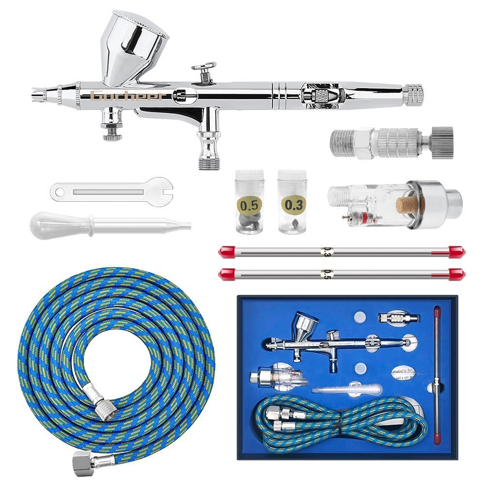 Gocheer High Precision Dual Action Gravity Feed Airbrush with 0.2 0.3 0.5mm Nozzles and 1/8''5.9ft Hose for Art Painting Tattoo Manicure Spray Model Nail Make up + Air Brush Cleaning Repair Tool Kit