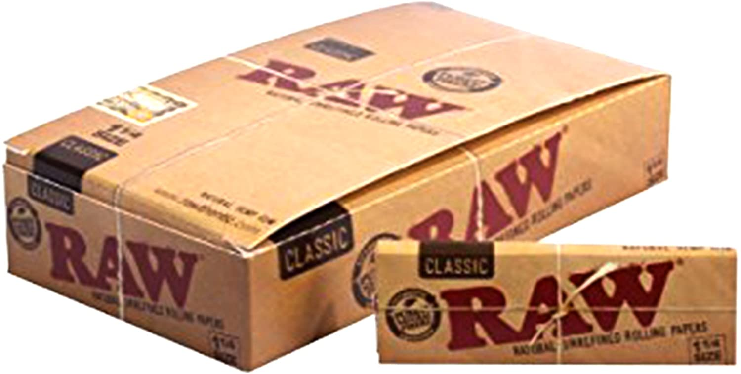 6 Booklet Authentic RAW Classic 1 1//4 Size Natural Unrefined Rolling Paper