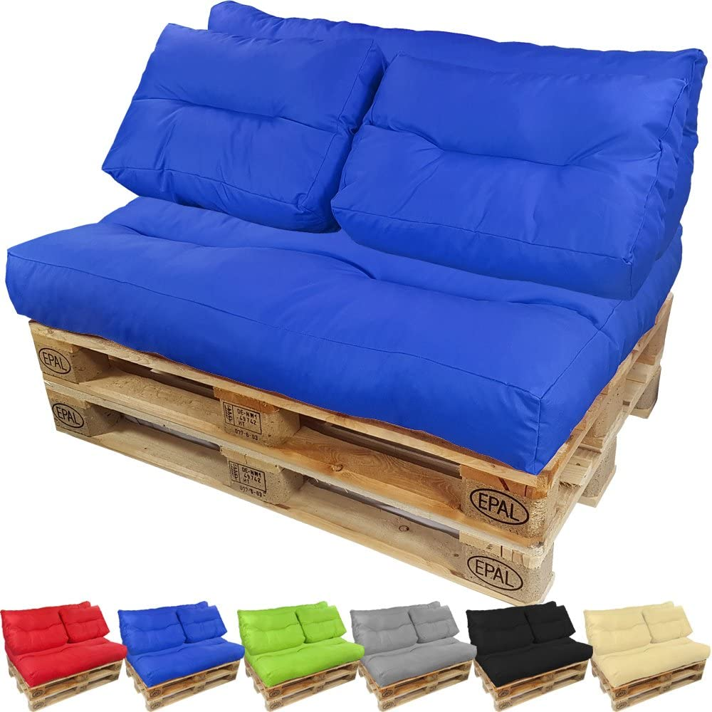 Palettenkissen Palettenauflagen Sitzkissen R/ückenlehne Gesteppt PPI Sitzkissen 120x60 gesteppt, Blau-Grau 2
