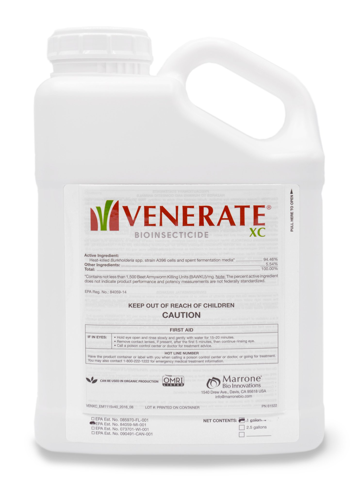 Venerate XC Bioinsecticide 1 Gallon, insecticide for mites, thrips, aphids, borers, whitefly, leafhoppers on Grapes, Strawberries, Potatoes, Citrus and more by Marrone Bio Innovations