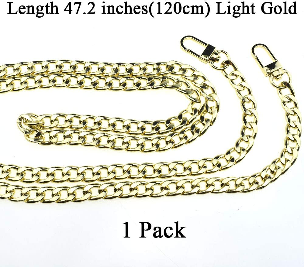 "HAHIYO Purse Chain Strap Length 7.9 inches Rose Gold for Shoulder Cross Body Sling Purse Handbag Clutch Replacement Strap Comfortable Flat 0.4/"" Wide Enough 2.4mm Extra Thick Metal Strap 1 Pack"