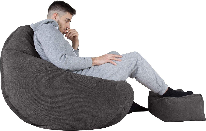 Waffelgewebe Schiefergrau Lounge Pug/® Gaming Sitzsack Sessel mit Hocker