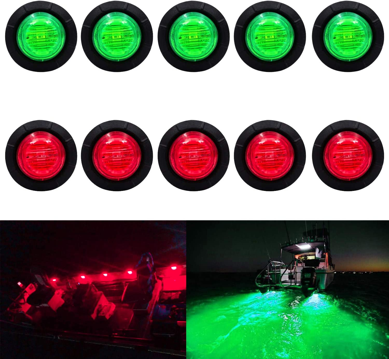 (5 Red + 5 Green) Waterproof Marine Boat LED Lights, LED Underwater Lighting, Utility Led Interior Lights Navigation Lights Deck Courtesy Lights 12V 24V for Yacht Boat Fishing Pontoon Sailboat Kayak