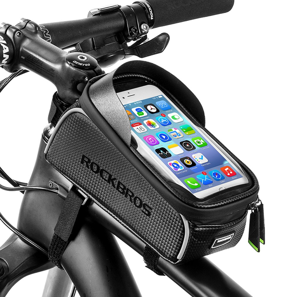 RockBros Bike Front Frame Bag Cycling Waterproof Top Tube Frame Pannier Mobile Phone Touch Screen Holder Bike Bag Fits Phones Below 6.0 Inches