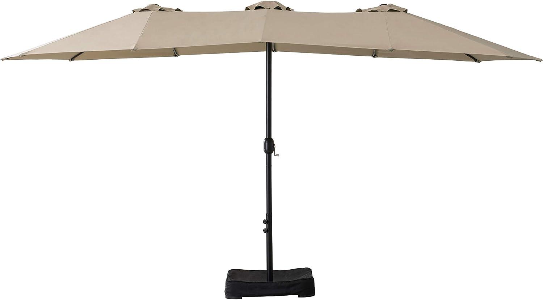 AmazonBasics Oversize Outdoor Market Patio Umbrella with Base - 15 x 6.9 Feet, Beige