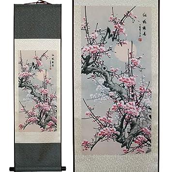 Asian flower blossom wall scroll