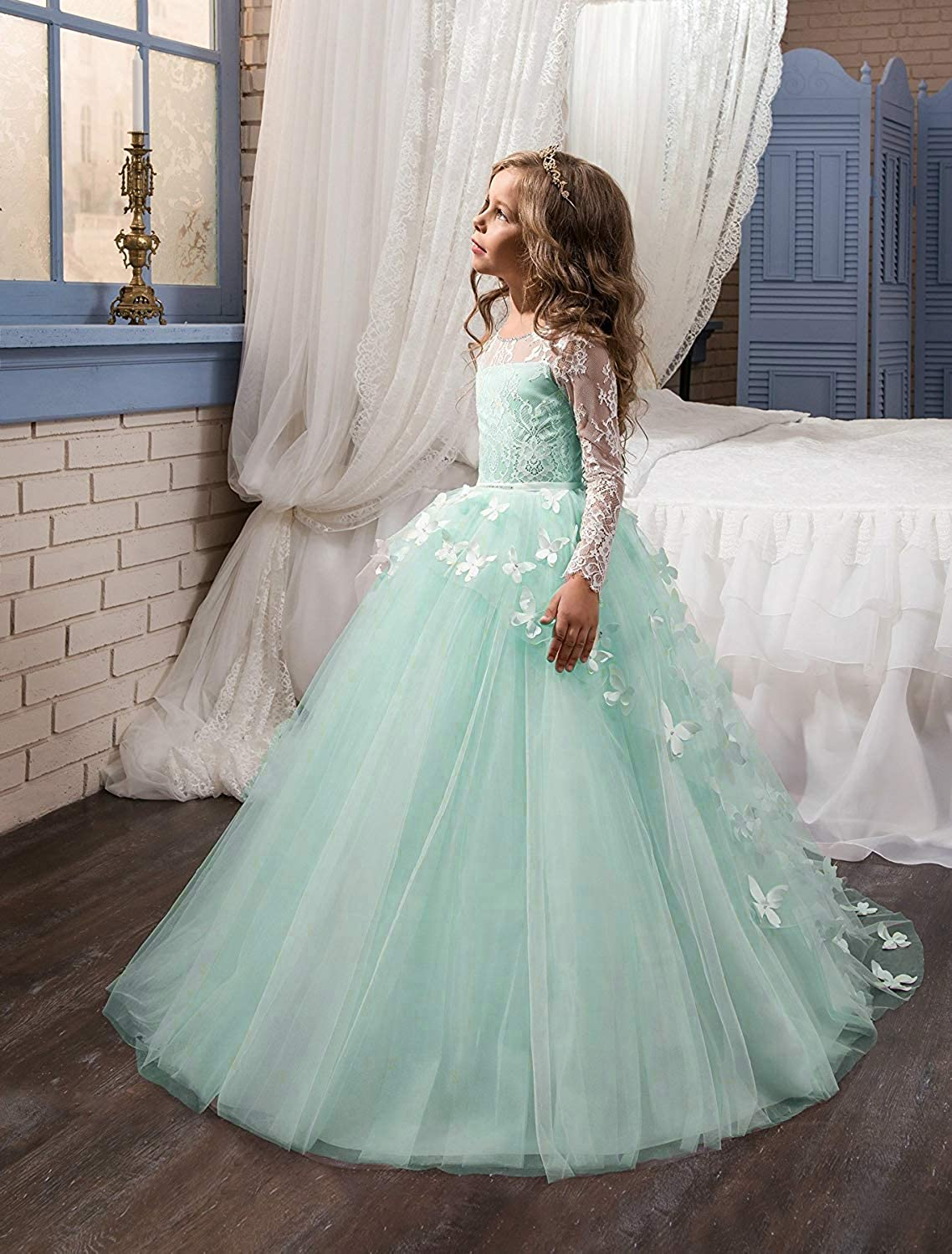 Abaowedding Lovely Flower Girl Dress Lace Long Sleeves Prom Gown