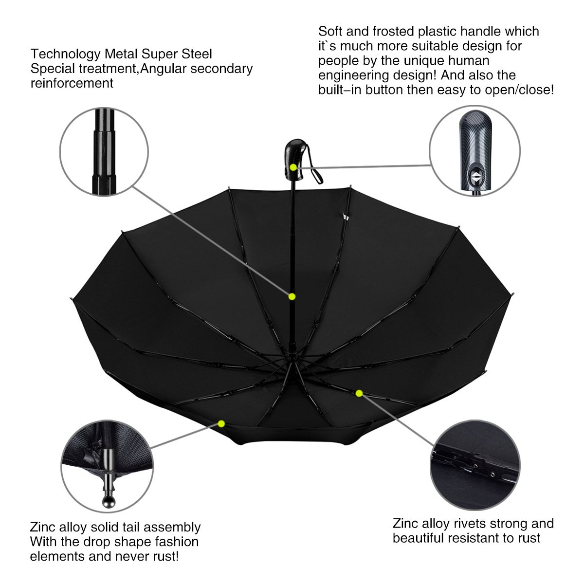 Umbrella, Cozyswan Travel Umbrella 210T Automatic Folding Umbrella with Sunscreen Function,Black (10 Ribs) by COZYSWAN (Image #2)