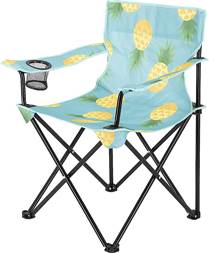 Clas Ohlson /® Foldable Camping Chair with Carry Bag and Cup Holder Lightweight and Portable Steel Frame