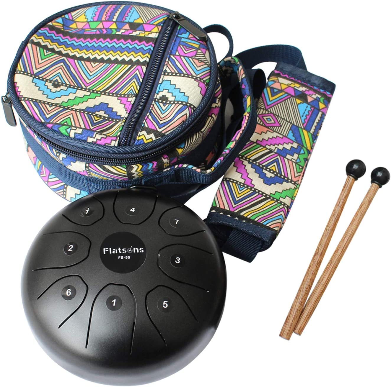 Flatsons Steel Tongue Drum Tank Drum Standard C Key 8 Notes 5.5 Inch Percussion Instrument with Drum Mallets Carry Bag