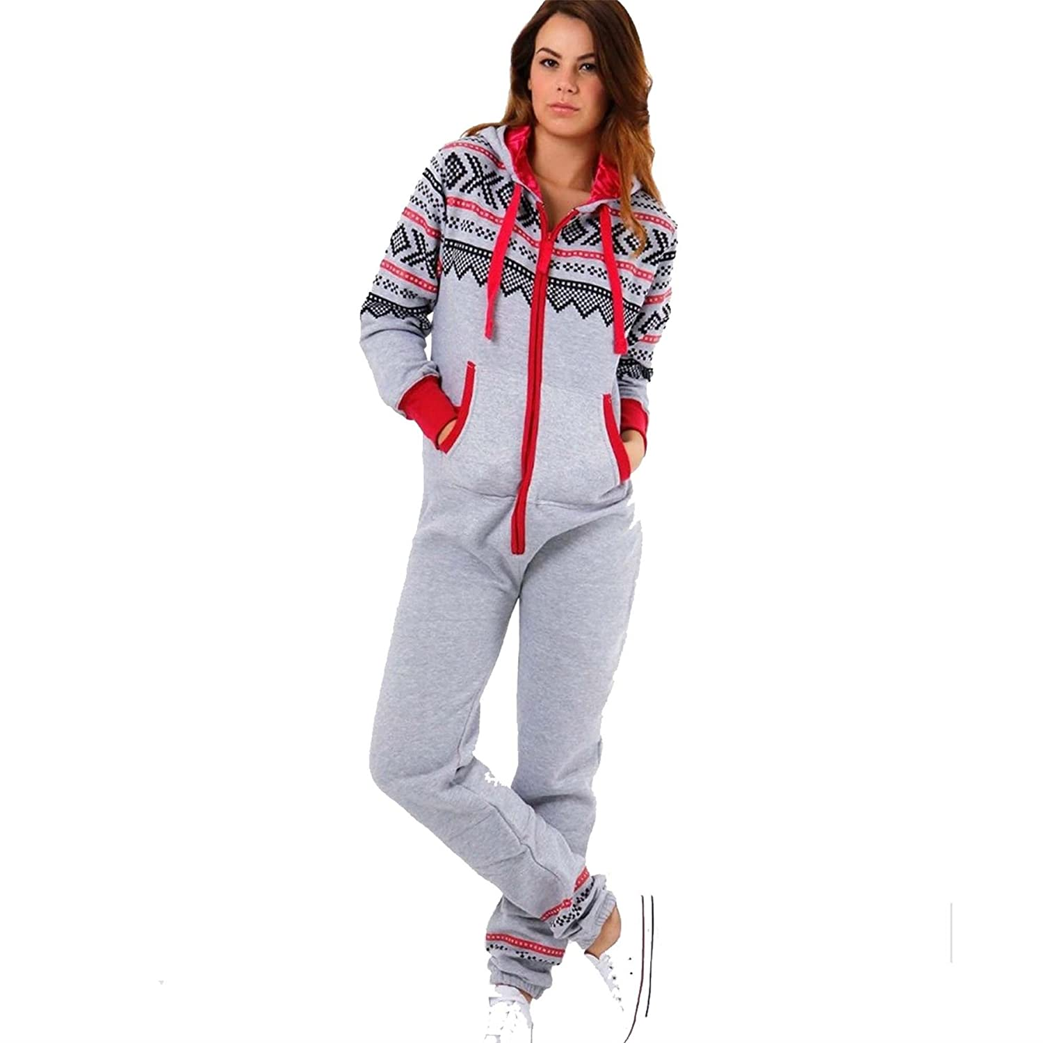 XPACCESSORIES Ladies Womens Long Sleeve Hooded Aztec Full Length Onesie Jumpsuit Adult Zip Up Fleece Playsuit All in One