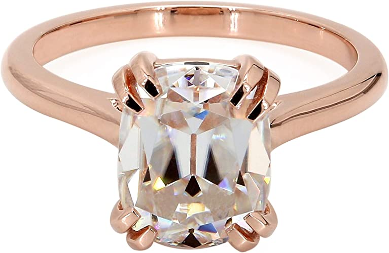 2.57Ct Emerald Cut Solitaire Diamond Engagement Ring band Solid 14K White Gold