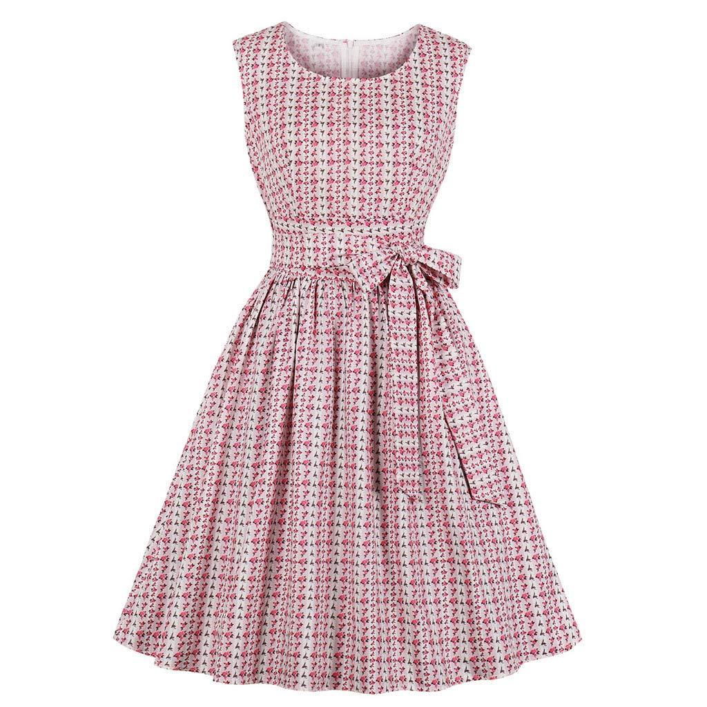 Aneofaob Women's Dresses, Women Vintage Zipper Dress Sleeveless Print O-Neck Mini Skirt Retro Party Dress with Belt (S, Pink)