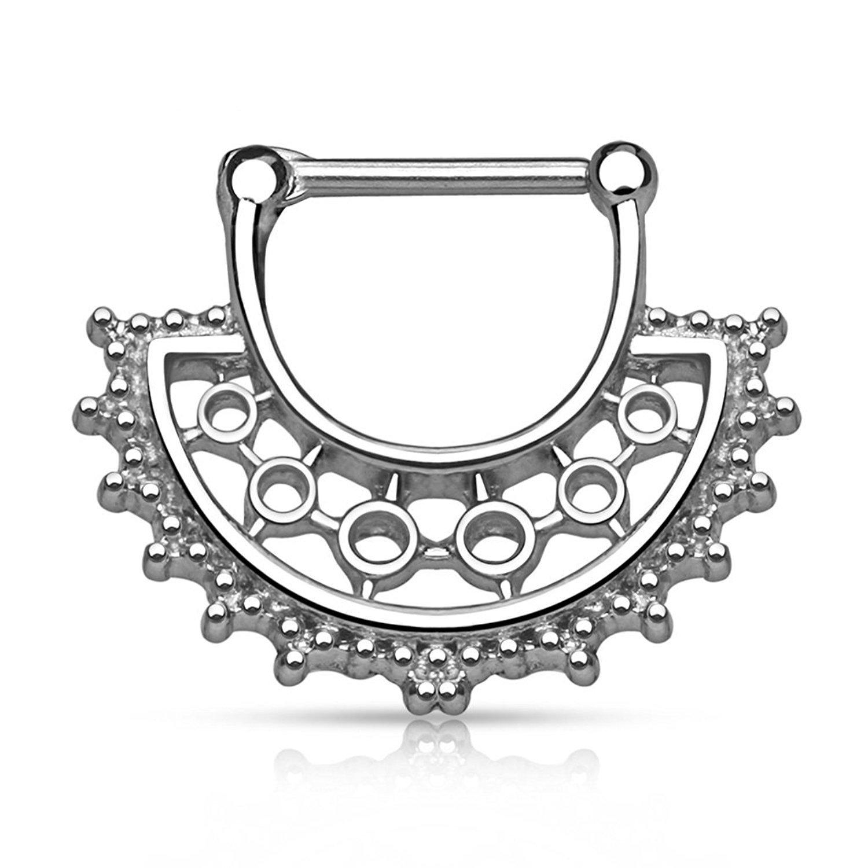 PAIR Tribal Fan Design Nipple Clickers Shields Rings Body Jewelry