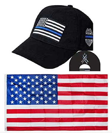 6e95bbfd Thin Blue Line USA Police Memorial Ribbon Badge Fallen Black Officers  Embroidred Hat & USA Flag