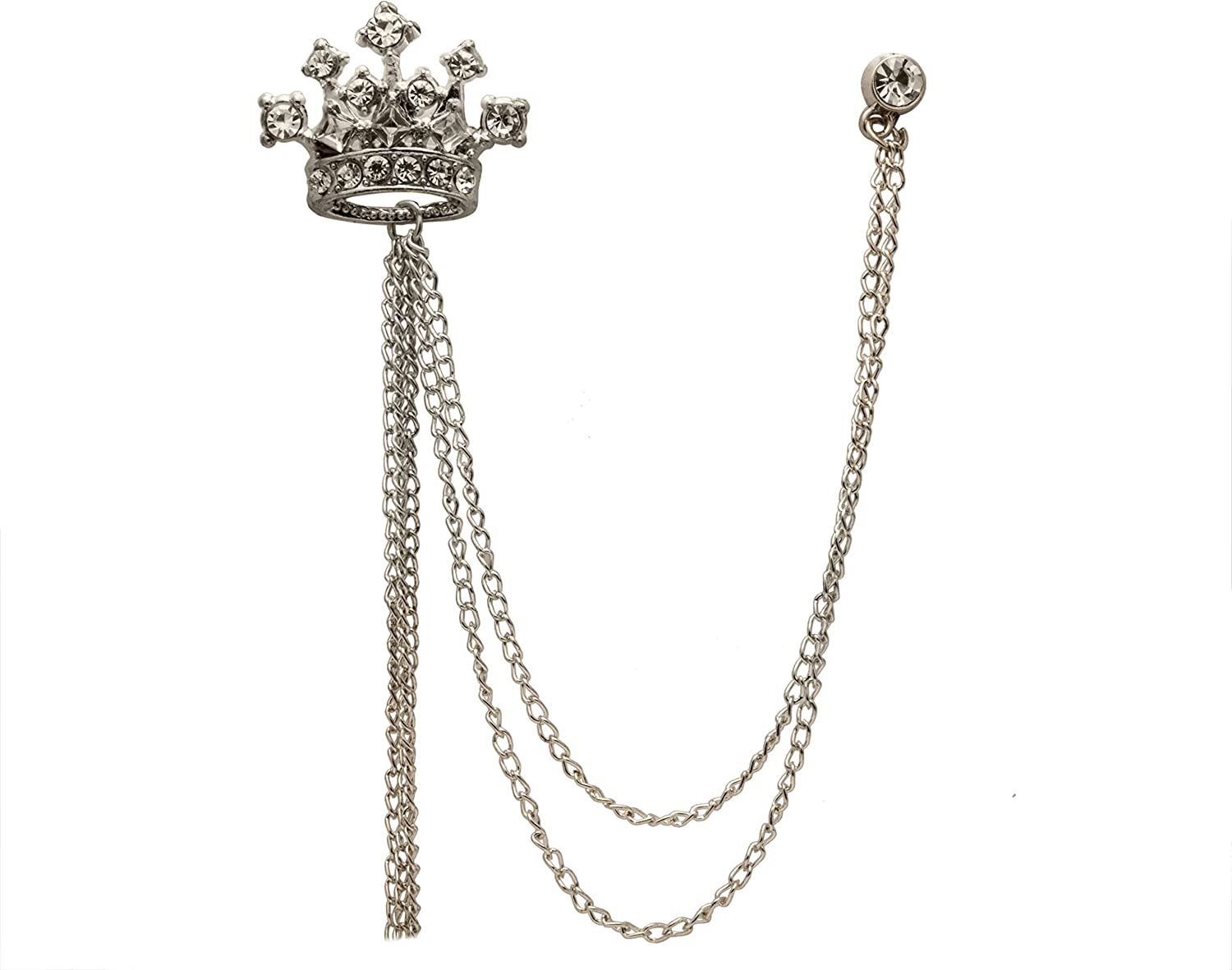 Knighthood Silver Crystal Crown With Hanging Chain Lapel Pin Brooch for Men