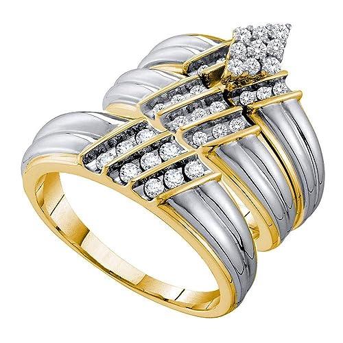 Juego de anillos de boda de oro de 14 quilates, diseño redondo de diamante a
