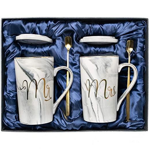 Funny Wedding Anniversary Gift Birthday Present For Her Gifffted Mr and Mrs Gifts Mugs For Couple V1 Men Women Him His Hers Bride Gold Valentines Day 2 Coffee Cups Couples Engagement Presents