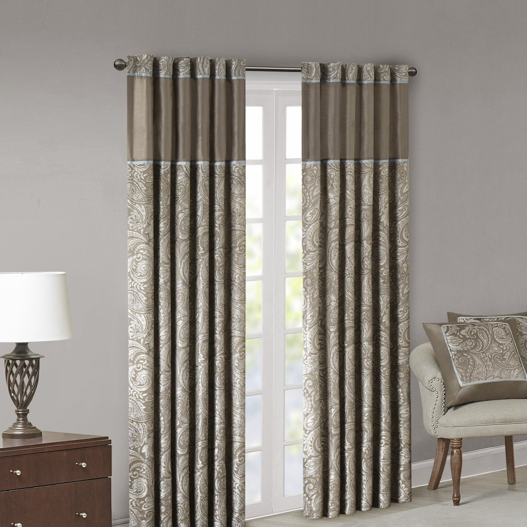 Madison Park Aubrey Jacquard Room-Darkening Window Curtain 2 Blackout Panel Pair for Bedroom and Dormitory, 50x84, Taupe