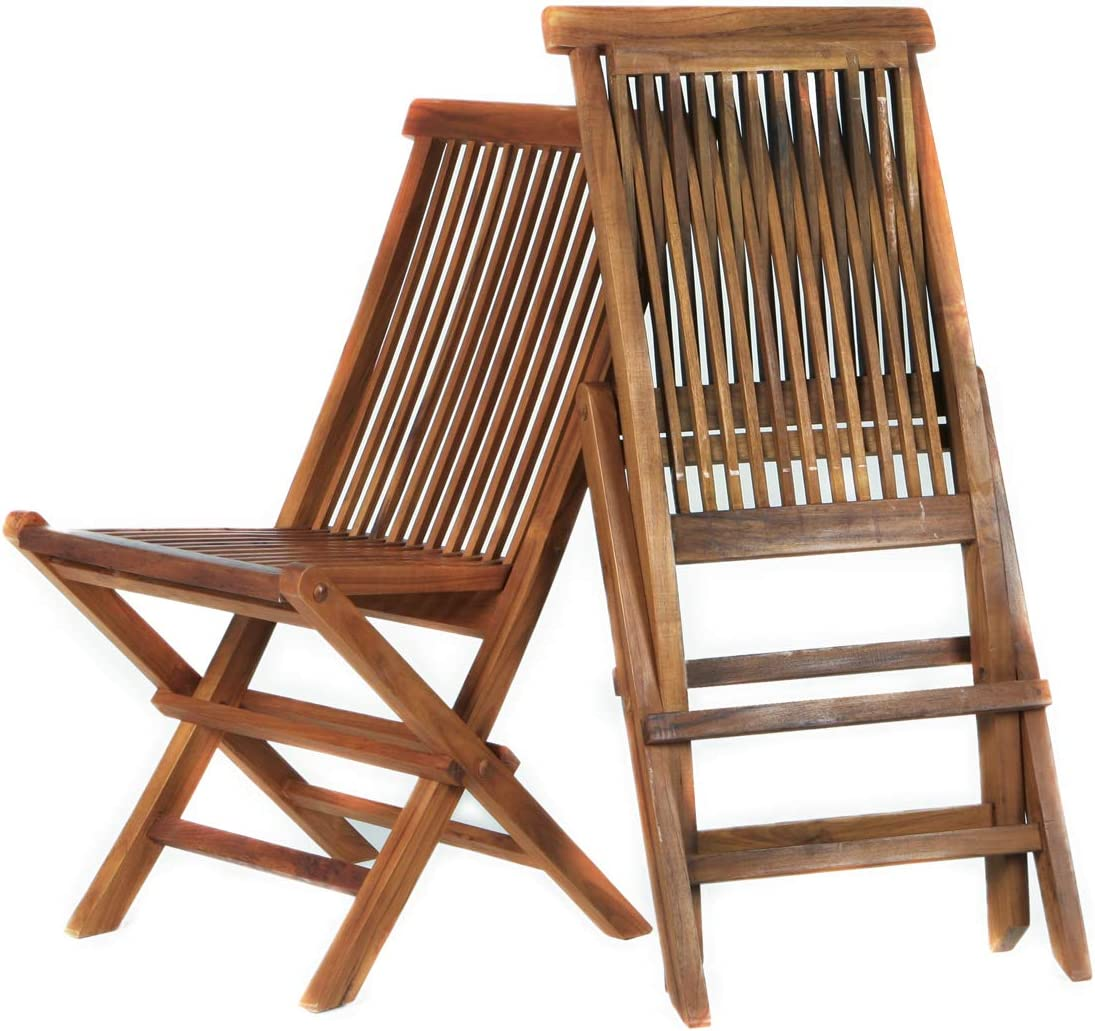 All Things Cedar TF22-2 Special Price Combo Teak Folding Chair Set Set of 2 , No Cushion