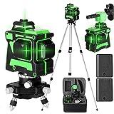 Romacci Ferramenta de nível a laser multifuncional de autonivelamento 3D 12 linhas Linhas horizontais verticais com barra de